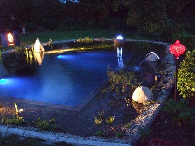 Teich Mit Lichtern Im Dunkeln