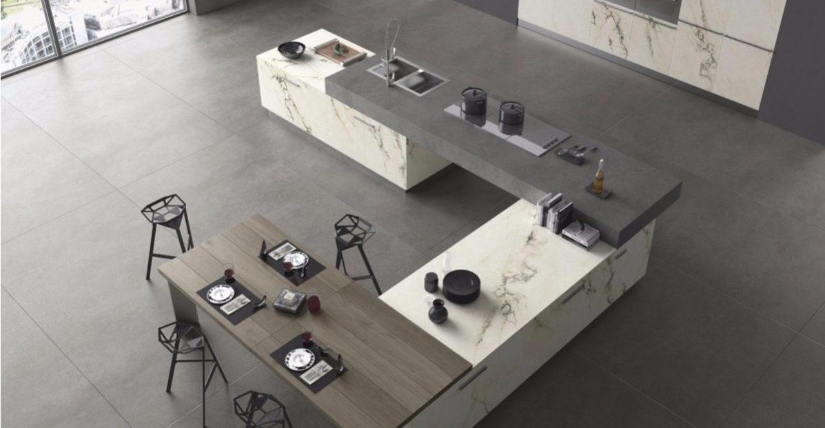 Küche In Grau Von Oben