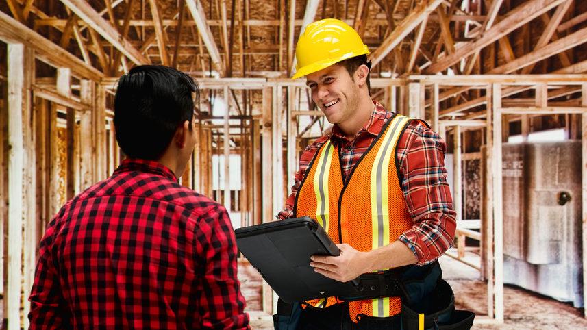 Bauarbeiter Und Bauherr Auf Baustelle